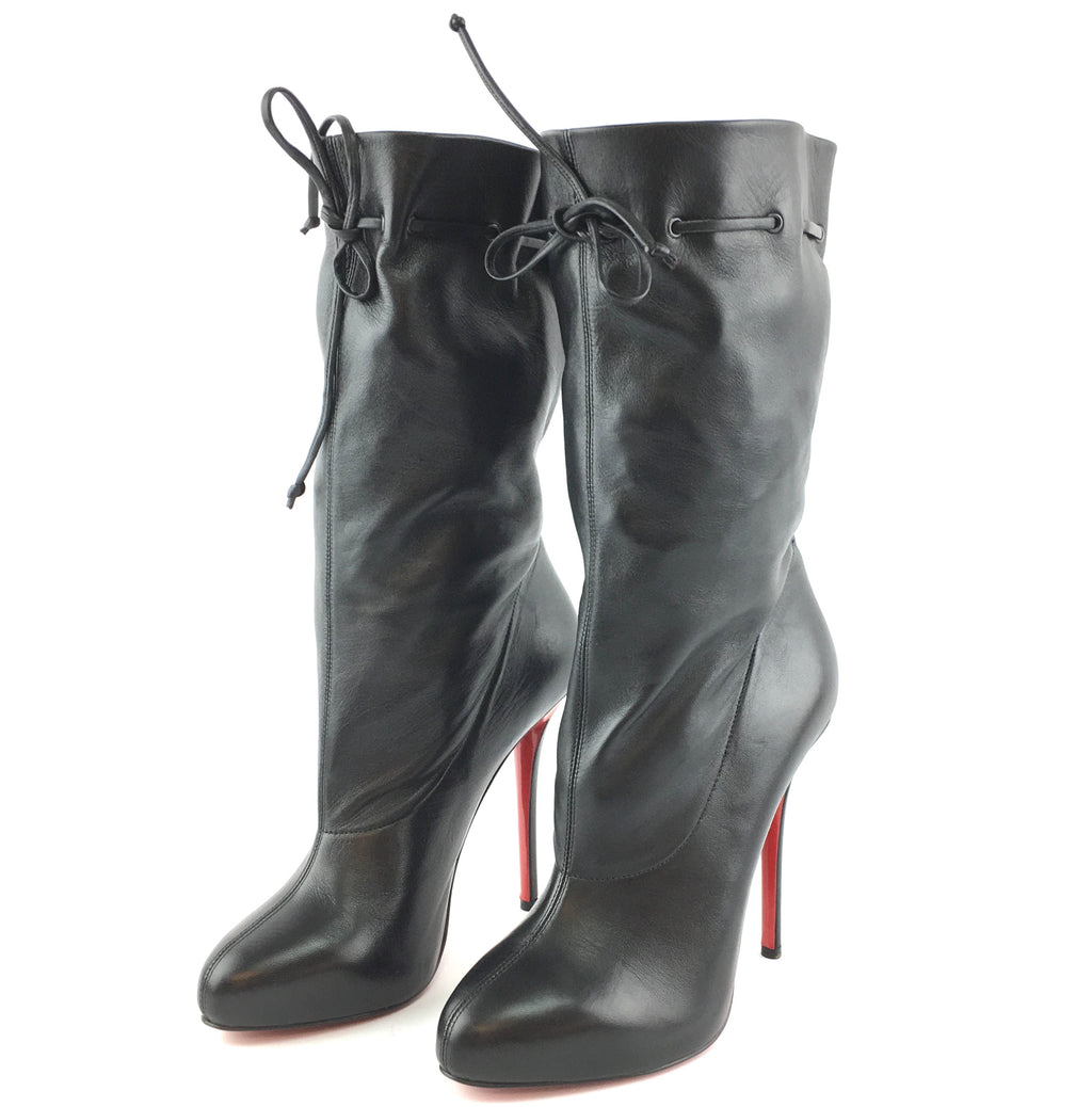 Christian Louboutin Black Nappa 120 Leather Long Pumps Boots
