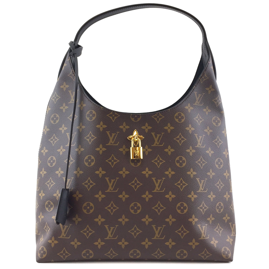 Louis Vuitton Flower Hobo Bag Black Leather Monogram Canvas