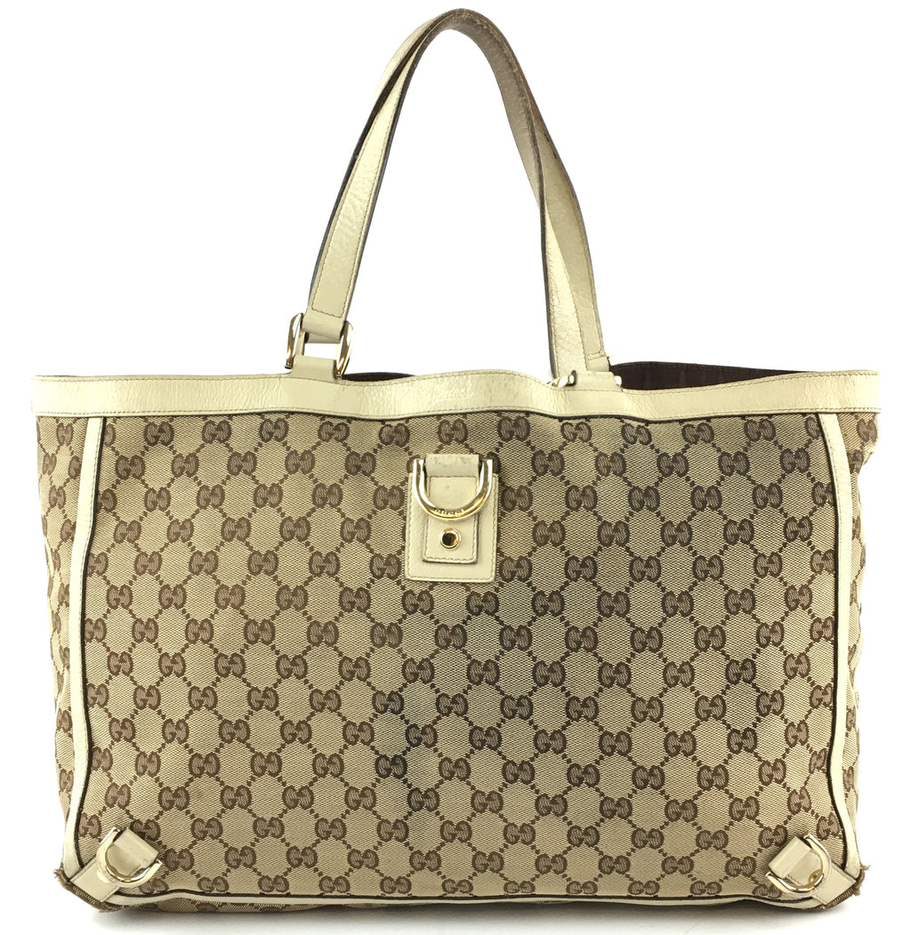 Gucci Abbey Tote Interlocking Brown Beige GG Canvas