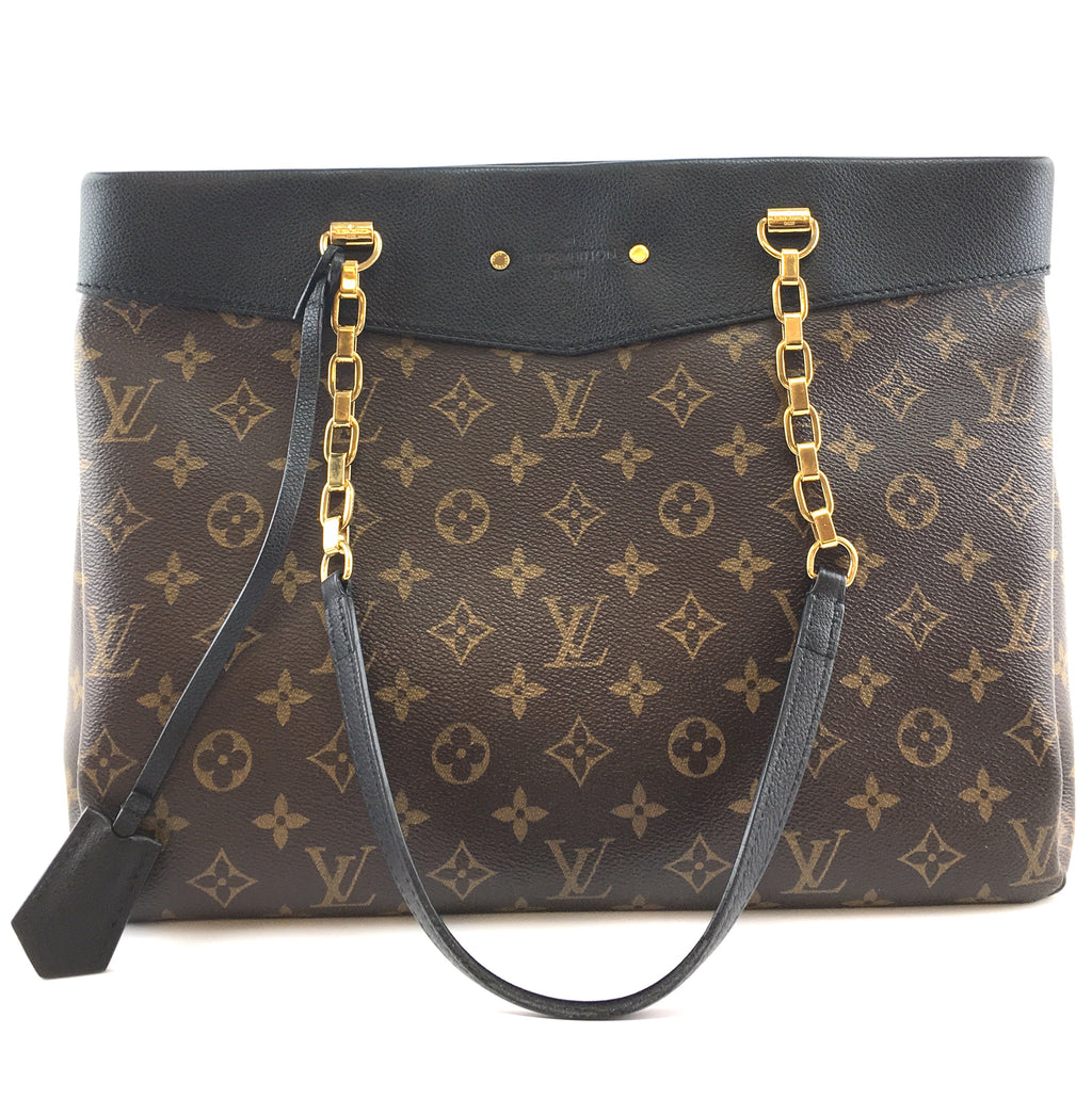 Louis Vuitton Pallas Shopper Monogram Canvas Black Calfskin