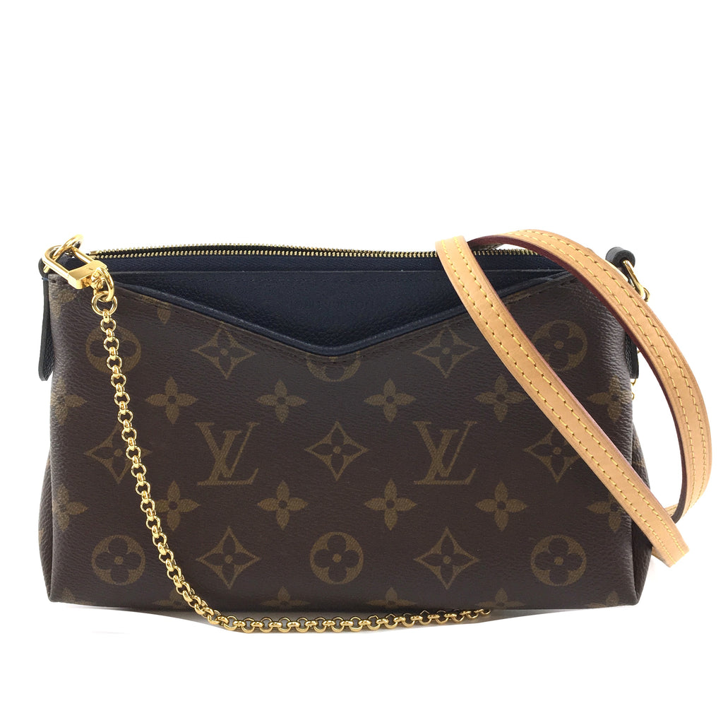 Louis Vuitton Pallas Clutch Monogram Canvas Blue Calfskin