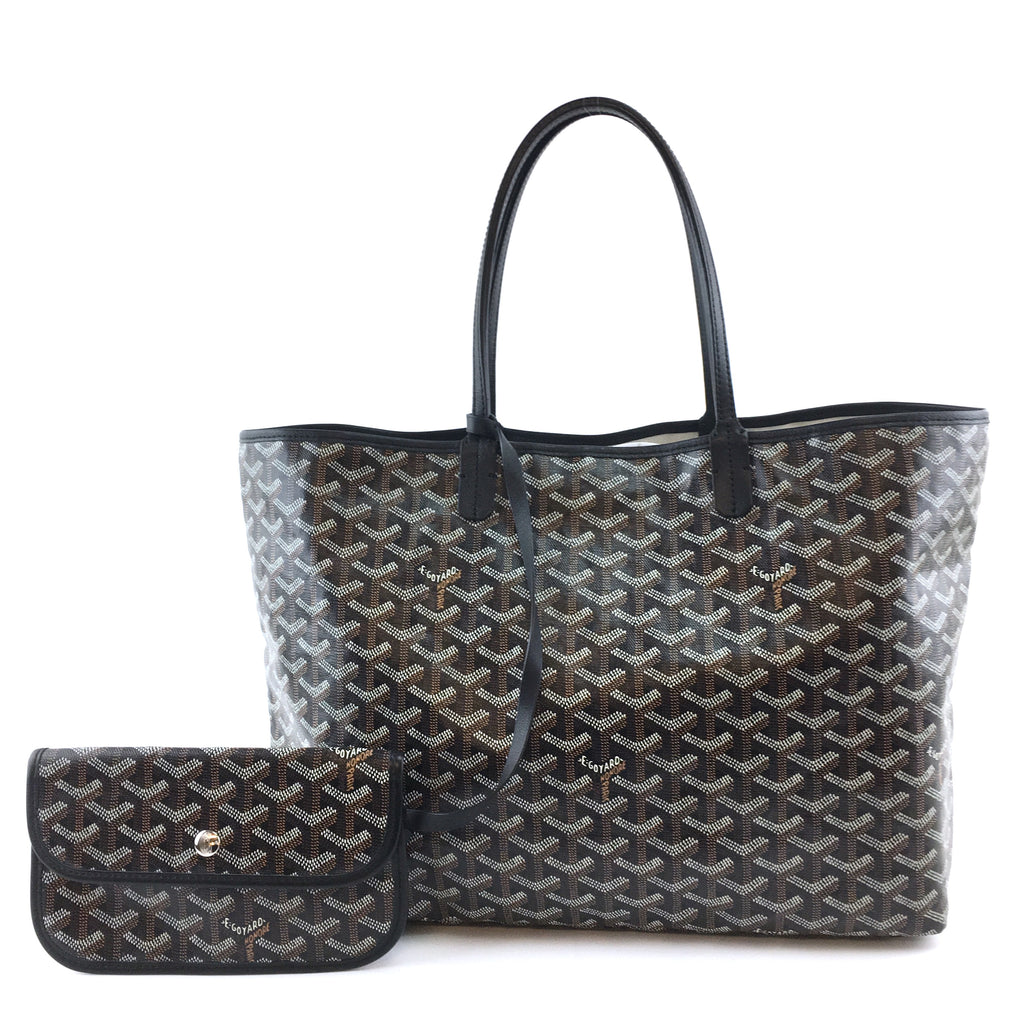 Goyard Saint Louis PM with Pochette Black Goyardine Canvas