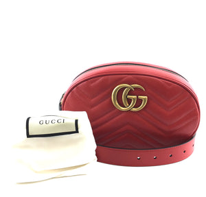 Gucci Waist Fanny Pack Bum Marmont GG Red Leather