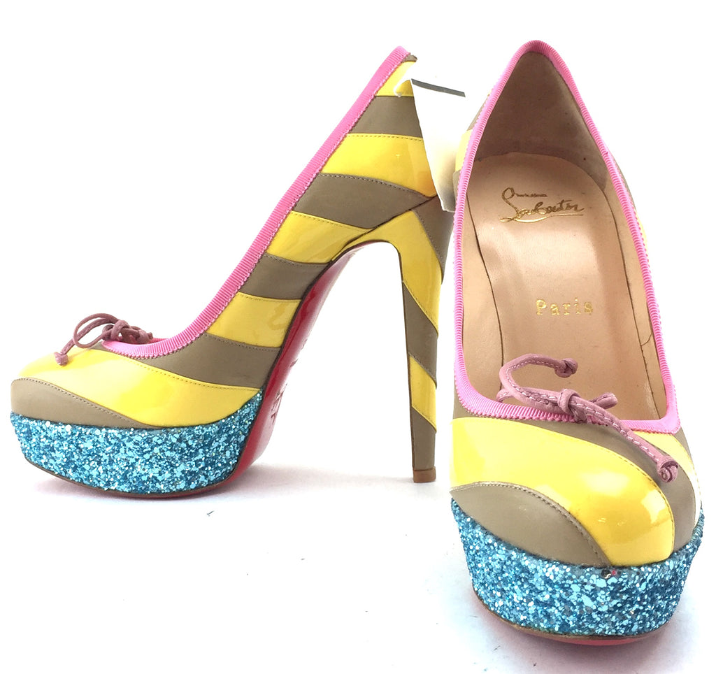 Multicolors Stripes Glitter Pumps US size 5