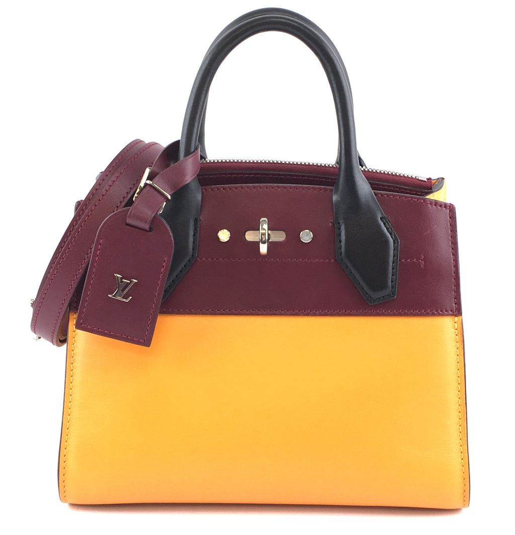 Louis Vuitton City Steamer Mini Orange Burgundy Leather