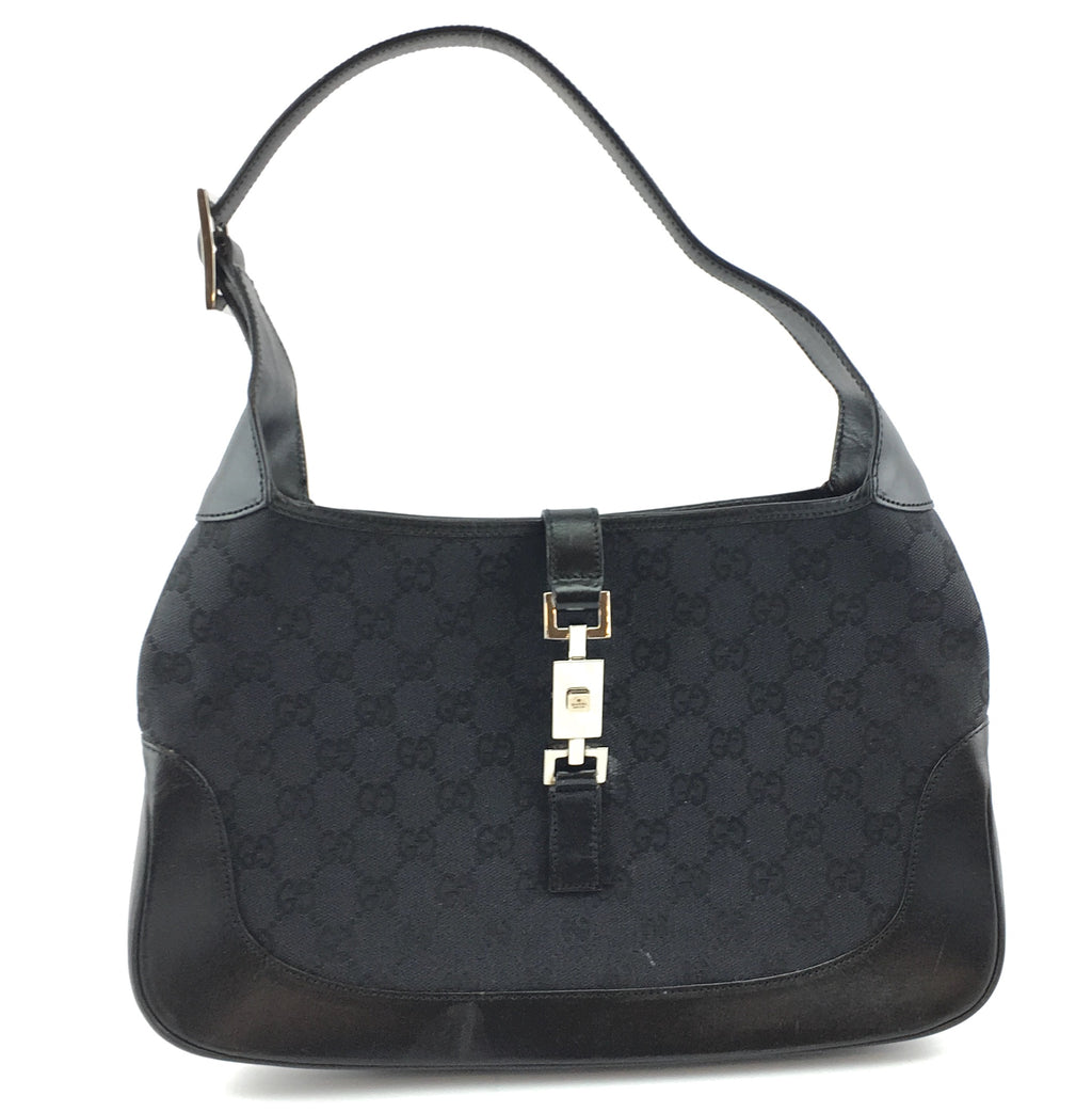 Gucci Jackie Hobo Bag GG Black Canvas and Leather