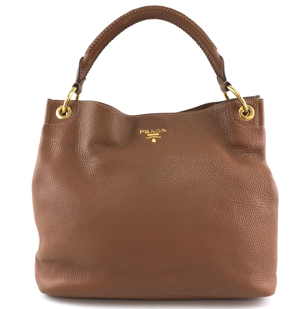 Prada Vitello Daino Sacca Brandy Brown Leather