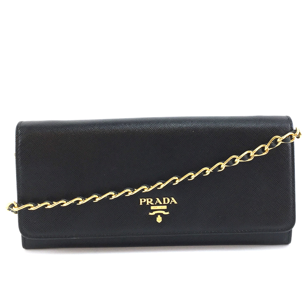 Prada Wallet On Long Chain Strap Black Leather