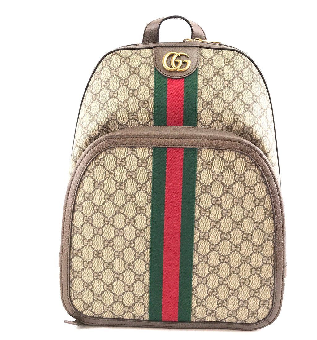 Gucci Ophidia Stripe Brown Red Green GG Supreme Canvas