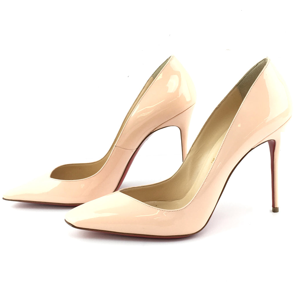 Christian Louboutin Beige Bat 100 Patent Leather Pumps