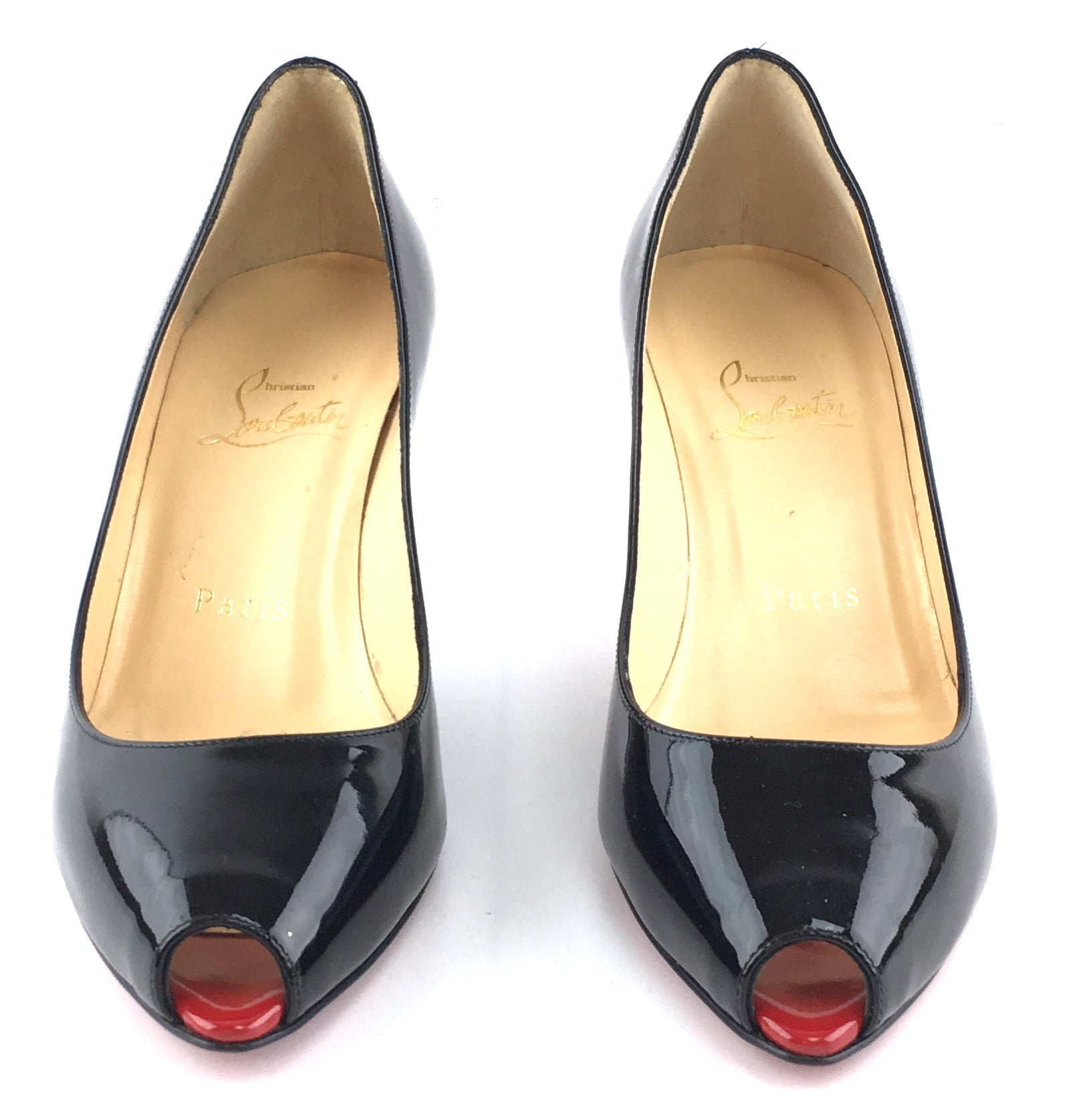 Christian Louboutin Tibur 70 Patent Red/Black Pumps