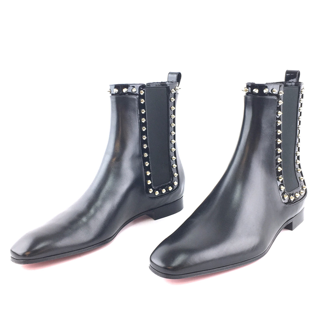 Christian Louboutin Black Marianne 70s Flat Shiny Calf Boots