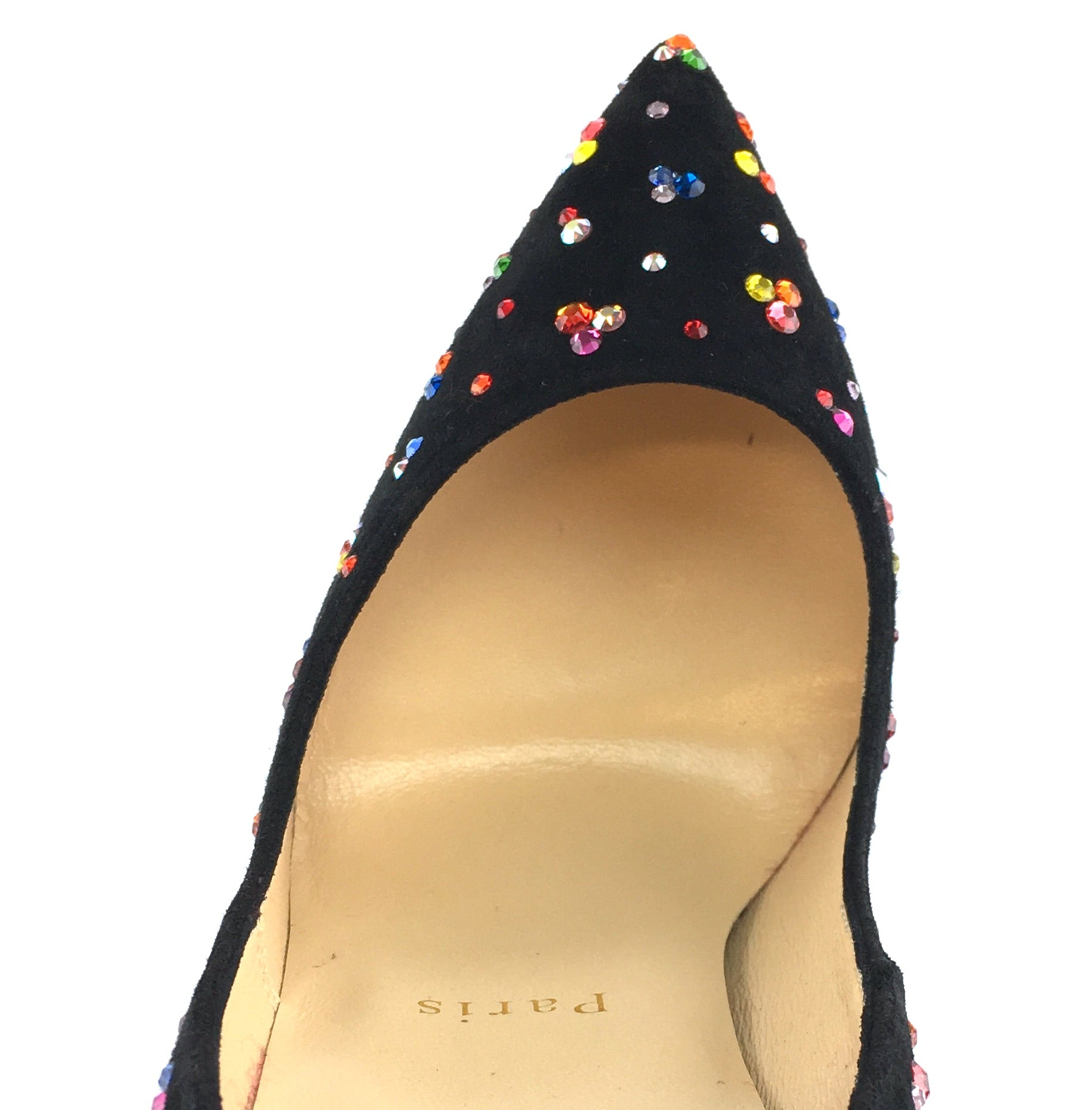 Christian Louboutin Suede Crystals Multicolor Clair De Lune 120 Pumps