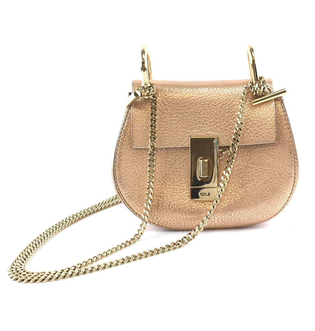 Chloé Drew Nano Metallic Gold Leather Shoulder Bag