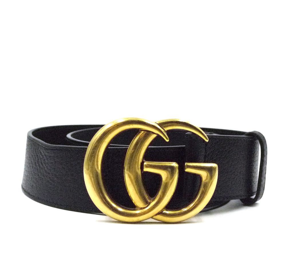Gucci Black Marmont GG Gold Buckle Grained Leather Belt Size 90/36