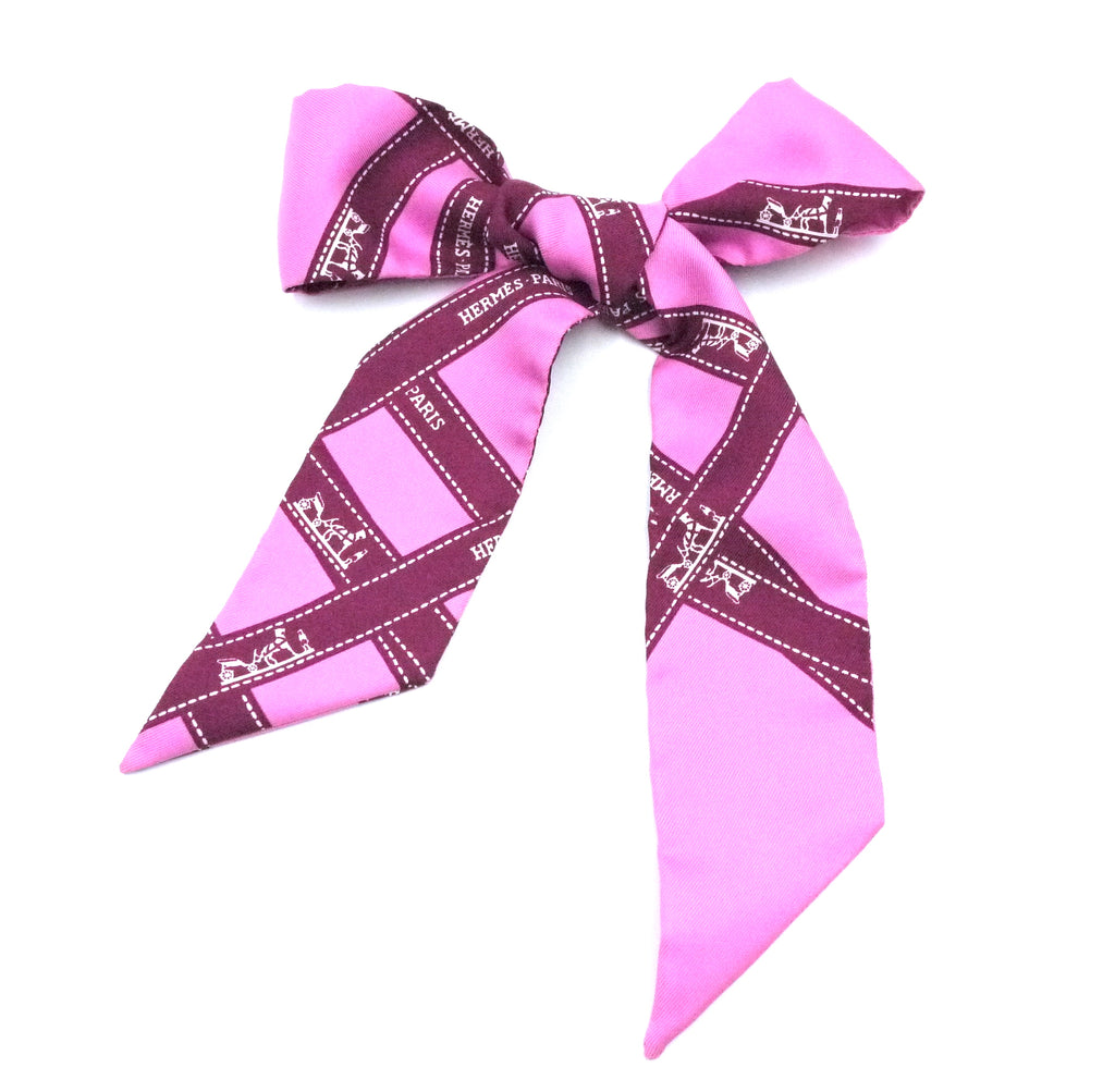 Hermès Pink Twilly Logo Ribbon Silk Scarf/Wrap