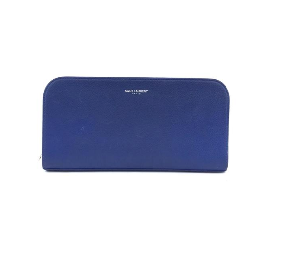 Saint Laurent Blue Zip Around Organizer YSL Long Wallet