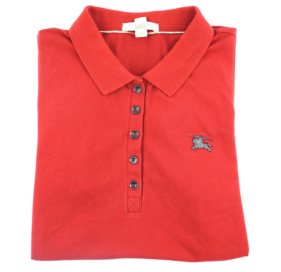 Burberry Red Logo Polo Women Tee Shirt