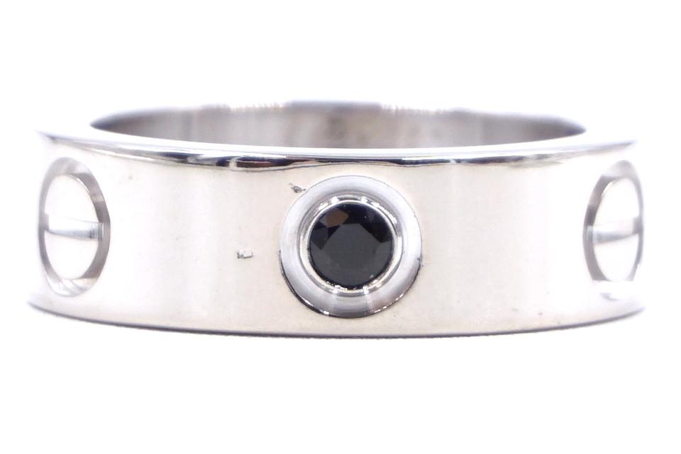 Cartier White Gold 18k 750 Black Sapphire Love Ring
