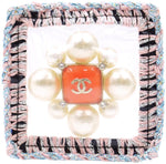 Chanel Sealed Tweed Edges Pearl Brooch