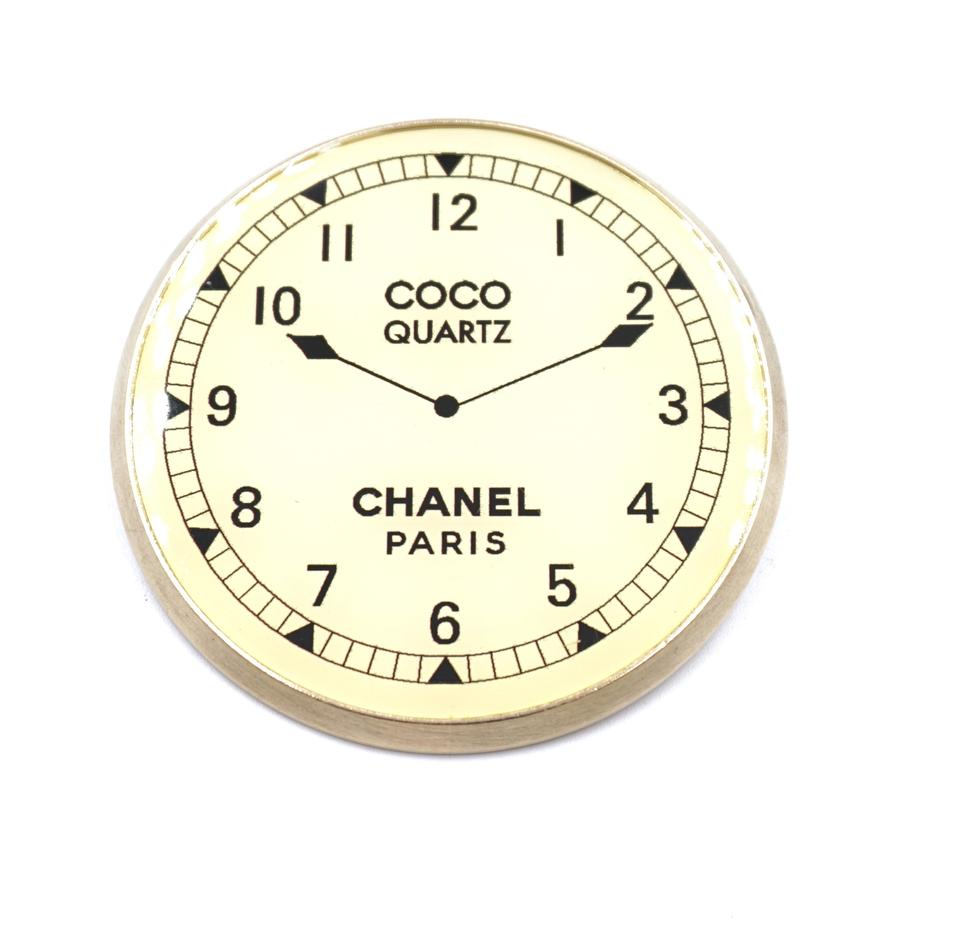 Chanel CC Clock Quartz Brooch