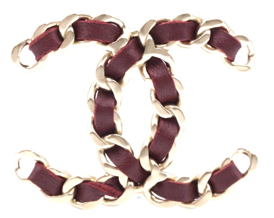 Chanel Gold Burgundy Cc Leather Brooch