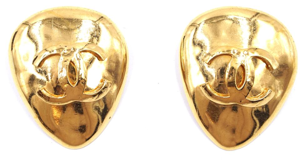 Gold Extra Large Tear Drop Cc Clip On Earrings