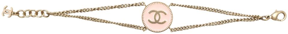 Cc Pink Enamel Plated Disc Chain Cuff Bracelet
