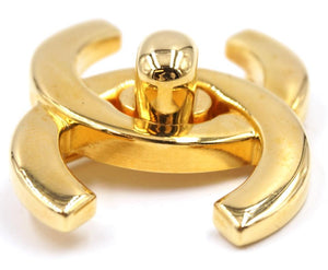 Gold Cc Interlock Hardware Brooch