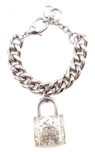 Chanel Cc Lock Charm Pearl and Strass Inlay Cuff Bracelet