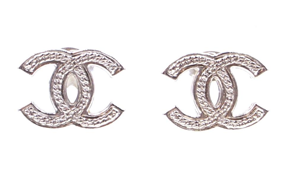 Chanel Textured CC Pierced Stud Earrings