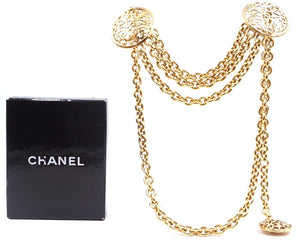 Chanel Gold Médallion Cutout Cc Hollow Chain Two Way Belt Necklace