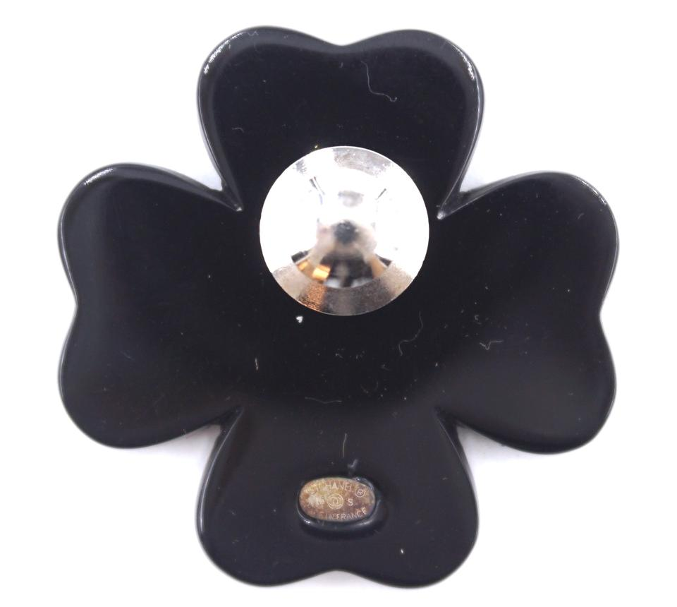 Chanel Multicolor Cc Clover Shape Black Resin Pin