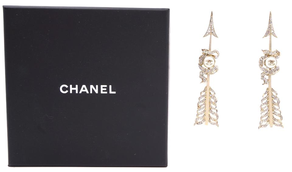 Chanel Crystals CC Arrow Cuffs Earrings