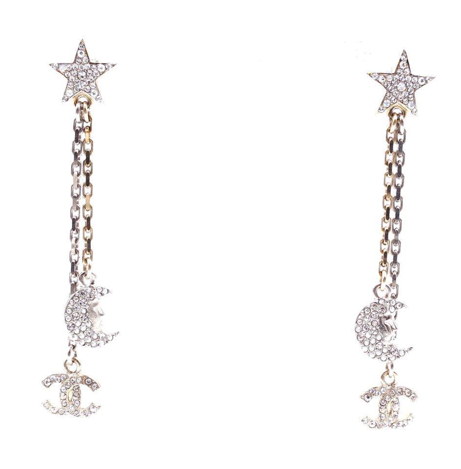 Chanel CC Star Moon Crystals Dangle Earrings