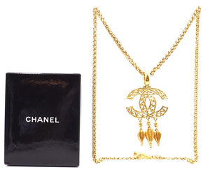 Chanel CC Textured Tassel Necklace