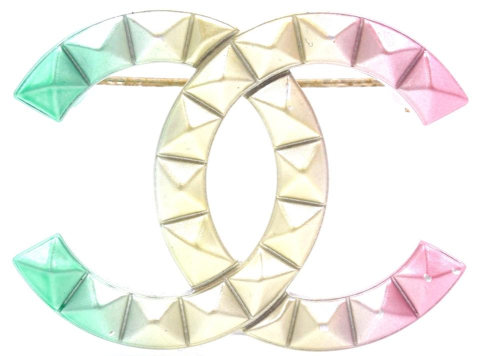 Chanel CC Rainbow Stud Hardware Brooch