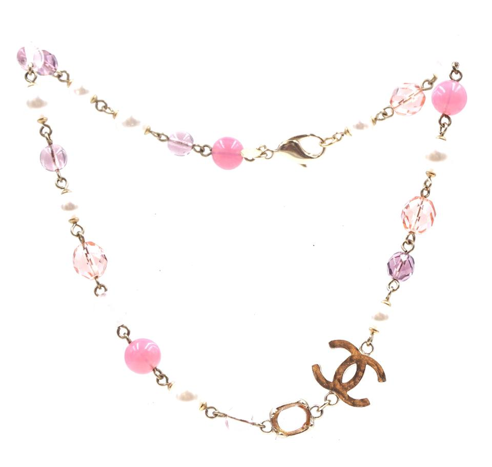 Chanel Pink Pearls CC Beads Hardware Choker