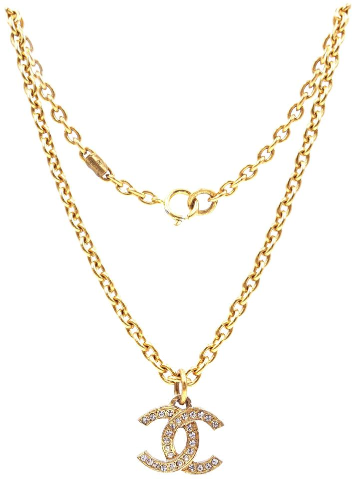 Chanel CC Crystals Textured Hardware Necklace