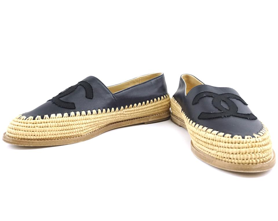 Chanel Black CC Espadrilles Wicker Sandals