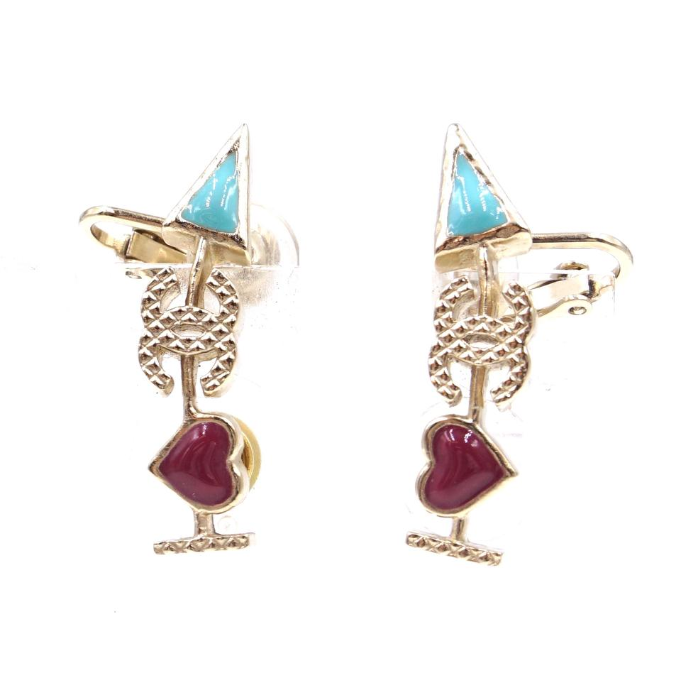 Chanel Gold Turquoise CC Arrow Hardware Earrings