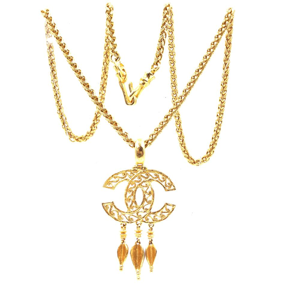 Chanel Gold CC Textured Tassel Drop Necklace
