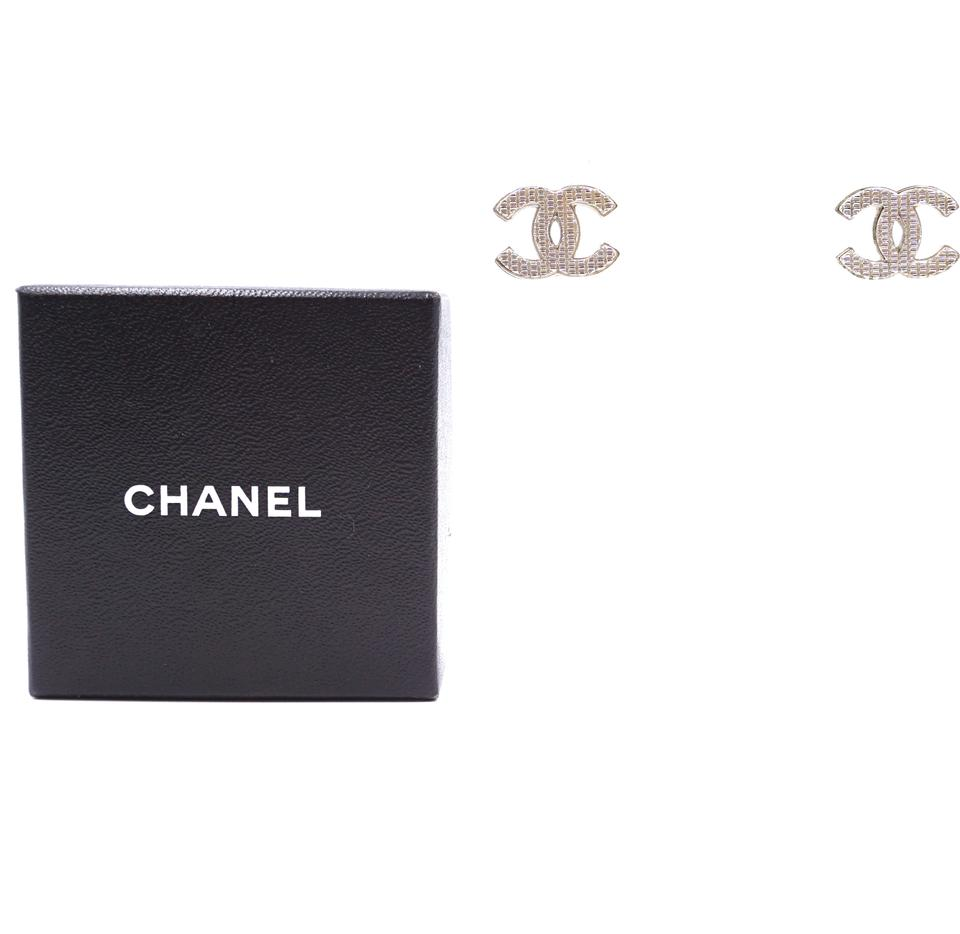Chanel Silver Textured CC Hardware Earrings