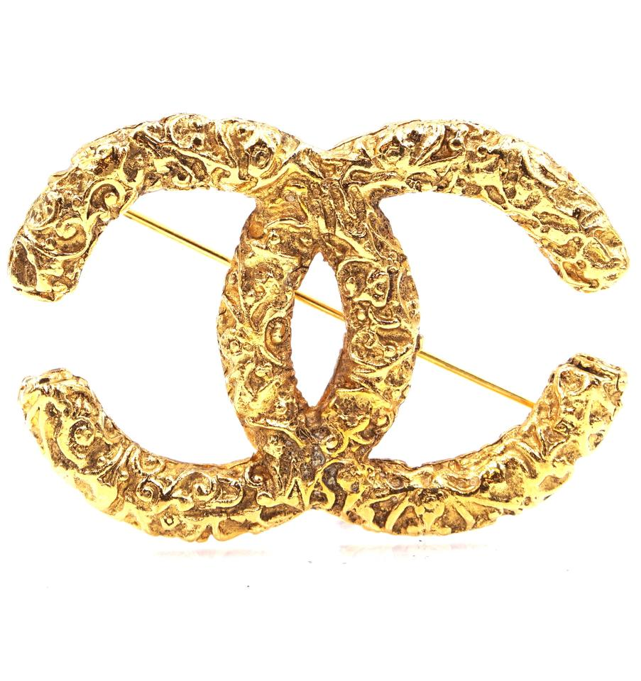 Chanel Gold CC Textured Hardware Brooch