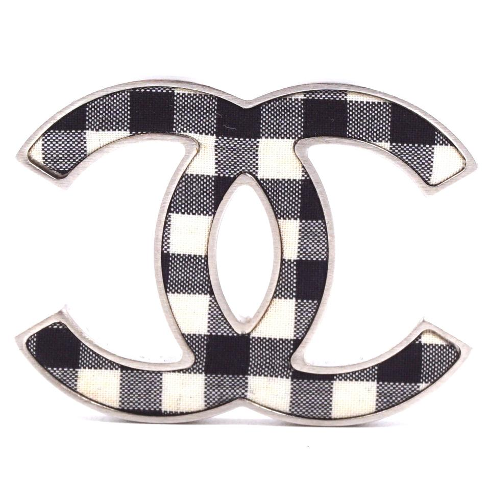 Chanel Black White Gingham CC Brooch