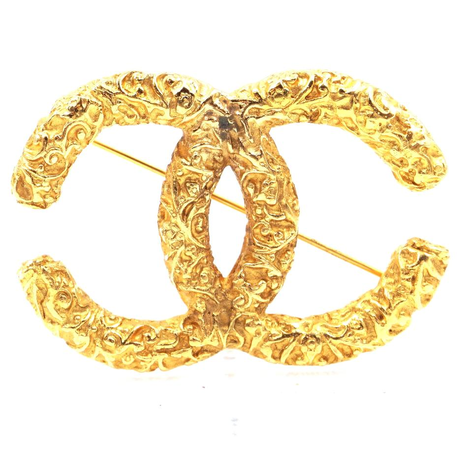 Chanel Gold Large CC Textured Hardware Brooch