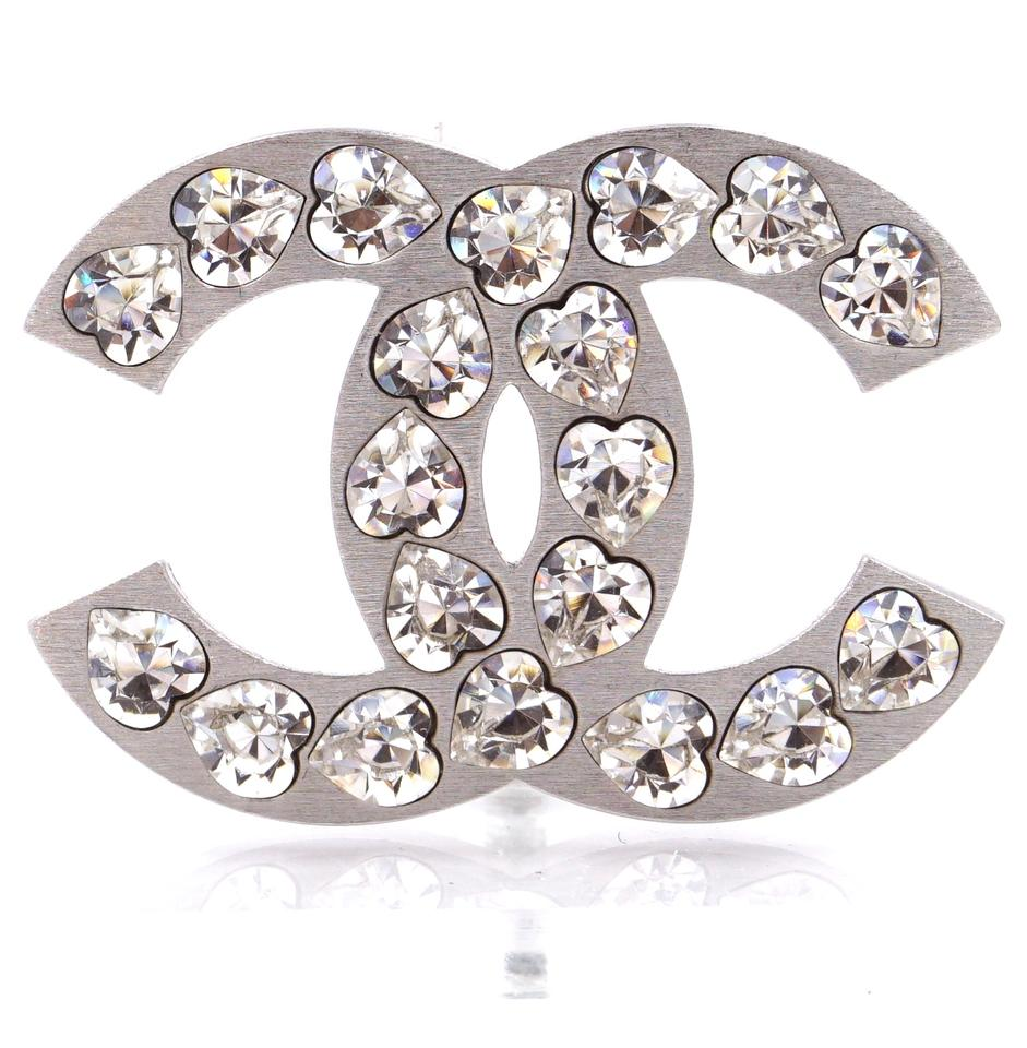 Chanel Silver CC Heart Crystals Hardware Brooch