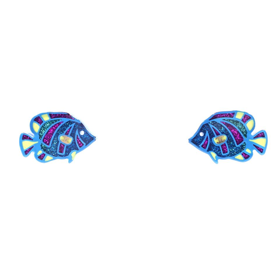 Chanel CC Clear Glitters Fishes Earrings