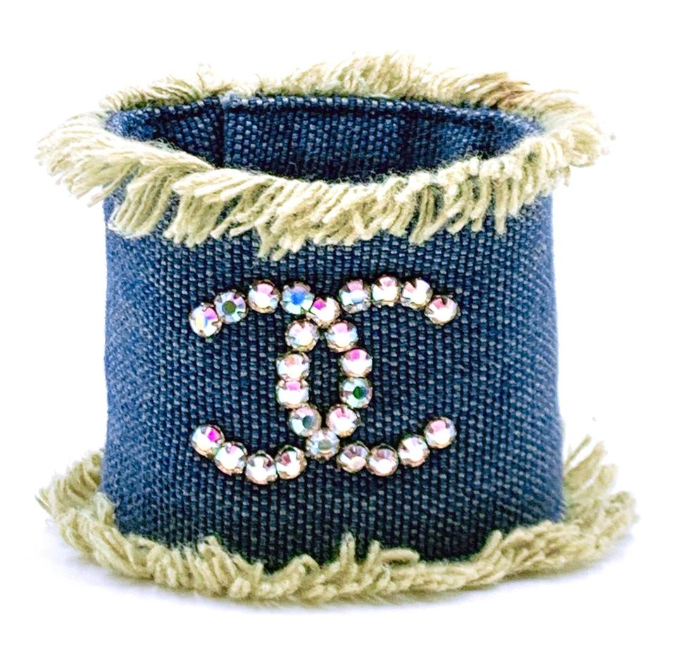 Chanel Rhinestones CC Denim Jeans Wide Cuff