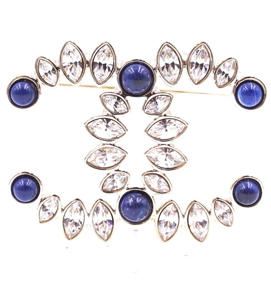 Chanel Gold Blue Crystals 2019 CC Hardware Brooch